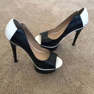 Black and White Bebe heels